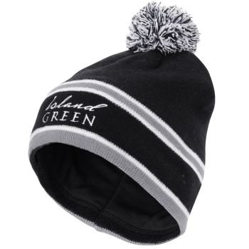 Island Green Knitted Stripe Bobble Hat (Charcoal)