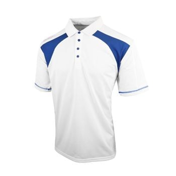 Island Green Mens Contrast Panel Golf Polo (White/Blue Flame)