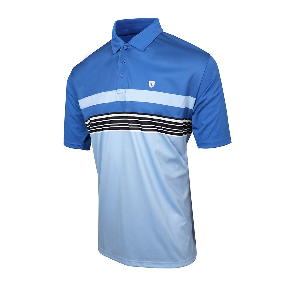 Island Green Mens Chest Stripe Golf Polo (Blue Flame/Sky)