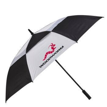 "Woodworm Windproof 60"" Double Canopy Golf Umbrella (Black & White)"