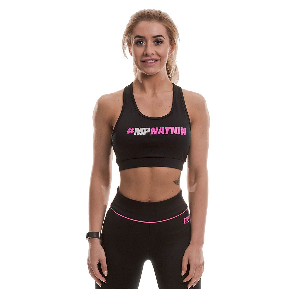 MusclePharm  #Hashtag Crop Top (Black/Hot Pink)