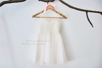 0a4531aee38 Pearl Beaded Champagne Tulle Flower Girl Junior Bridesmaid Wedding Dress  M0023
