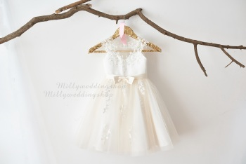 2109ff9a7f Illusion Sheer Neck Ivory Beaded Lace Champagne Tulle Wedding Flower Girl Junior  Bridesmaid Dress M0062