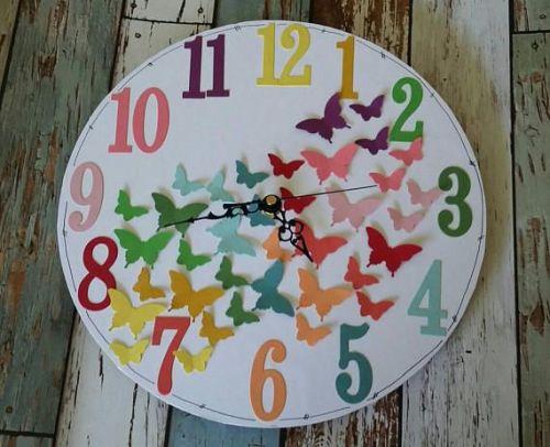 Rainbow Butterflies Clock