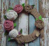 Rolled Burlap Flower Wreath