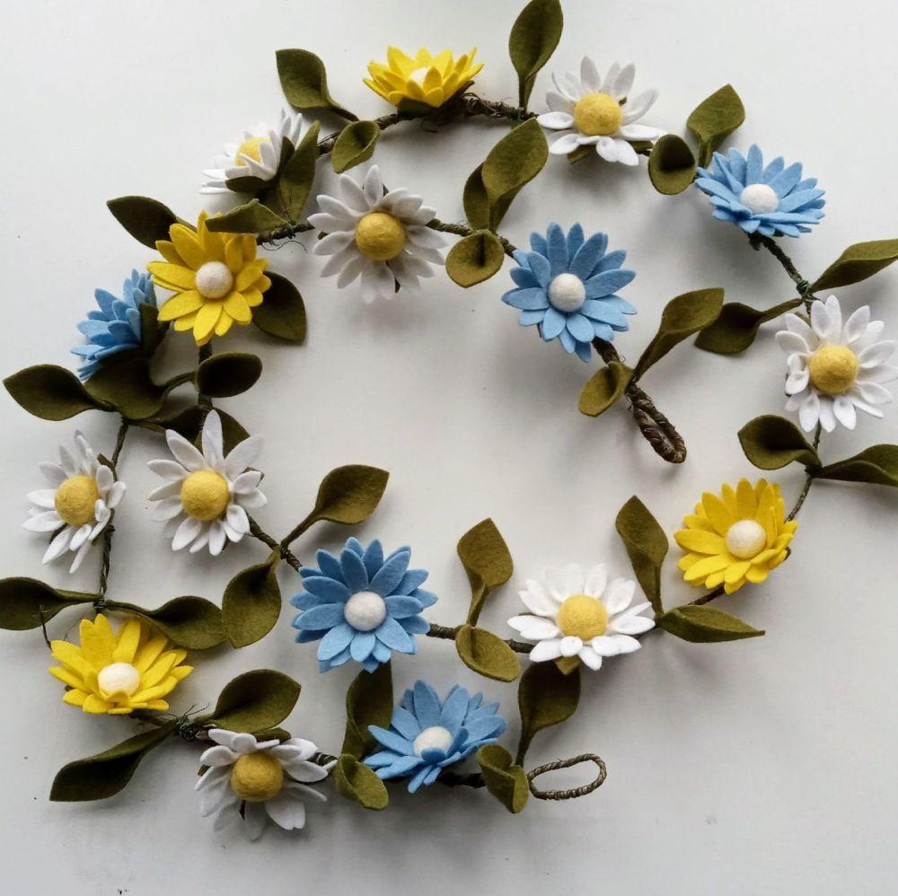 Springtime felt flower garland
