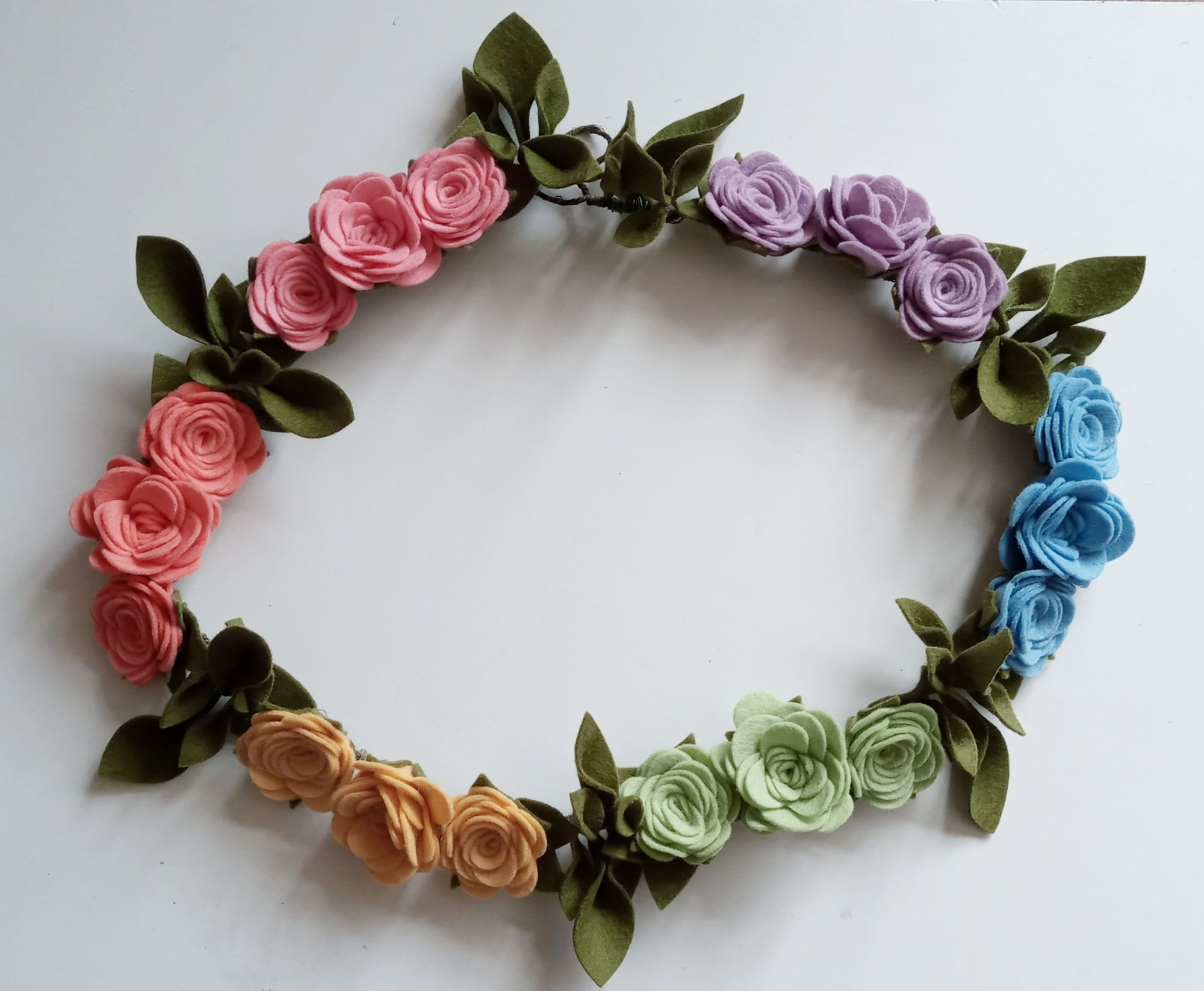 Vintage Rainbow Rose Garland