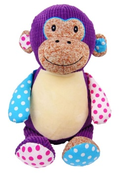 Huggles - Personalised Embroidered Monkey - Purple