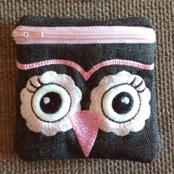 Handmade Embroidered Owl Zip Purse