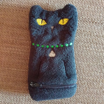 Handmade Embroidered Cat Zip Purse