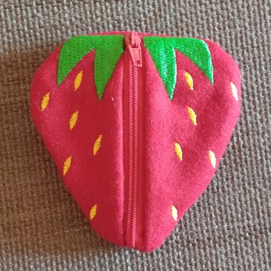 Handmade Embroidered Strawberry Zip Purse