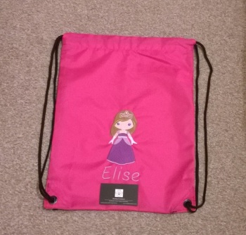 Personalised Embroidered P.E. Bag - Pink