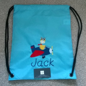Personalised Embroidered P.E. Bag - Sky Blue