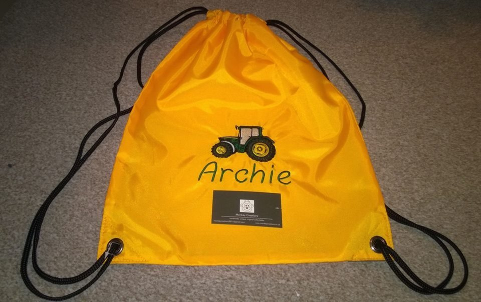 Personalised Embroidered P.E. Bag - Yellow
