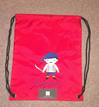 Personalised Embroidered P.E. Bag - Red