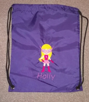 Personalised Embroidered P.E. Bag - Purple