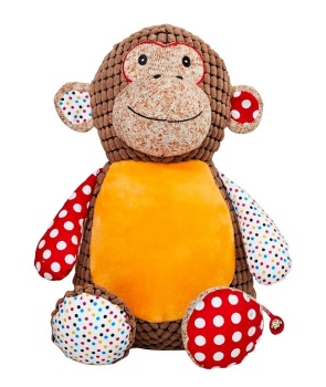 Huggles - Personalised Embroidered Monkey - Brown
