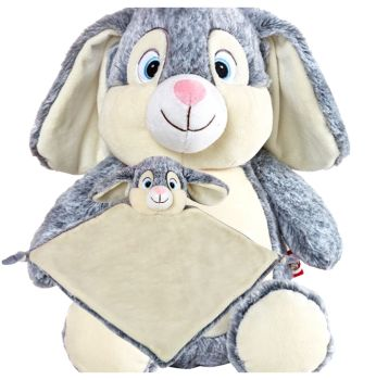 Grey Bunny Rabbit & Blankie Set