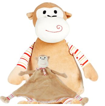 Pastel Monkey & Blankie Set