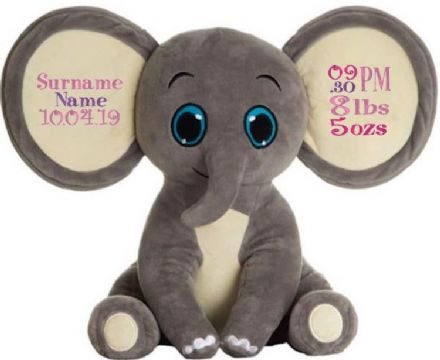 Tusker - Personalised Embroidered Elephant - Grey