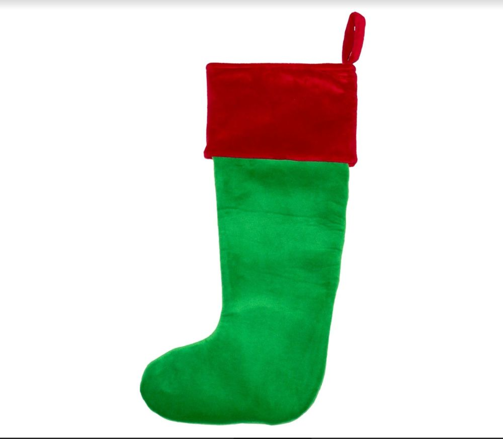Personalised Christmas Stocking - Green Santa Toe