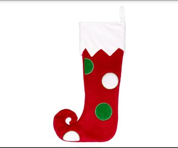 Personalised Christmas Stocking - Spotty Elf Toe