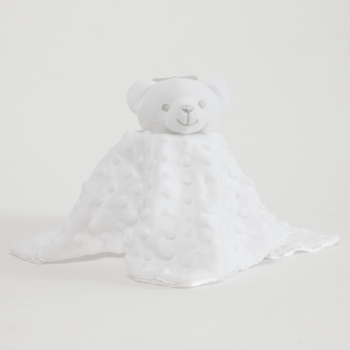 Personalised White Bear Bubble and Silky Baby Blankie