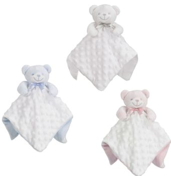Personalised White Bear Bubble Baby Blankie