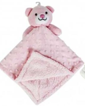 Personalised Pink Bear Bubble and Fleece Baby Blankie