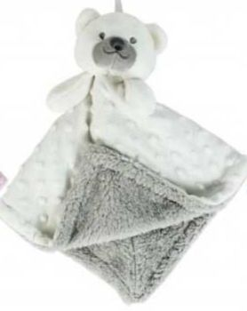 Personalised White Bear Bubble and Fleece Baby Blankie