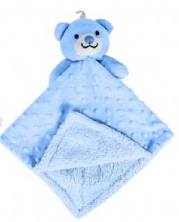 Personalised Blue Bear Bubble and Fleece Baby Blankie