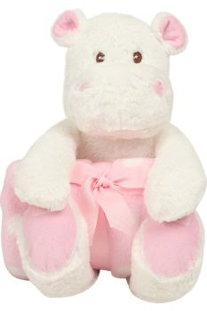 Personalised Embroidered Blanket and Hippo Set - Pink