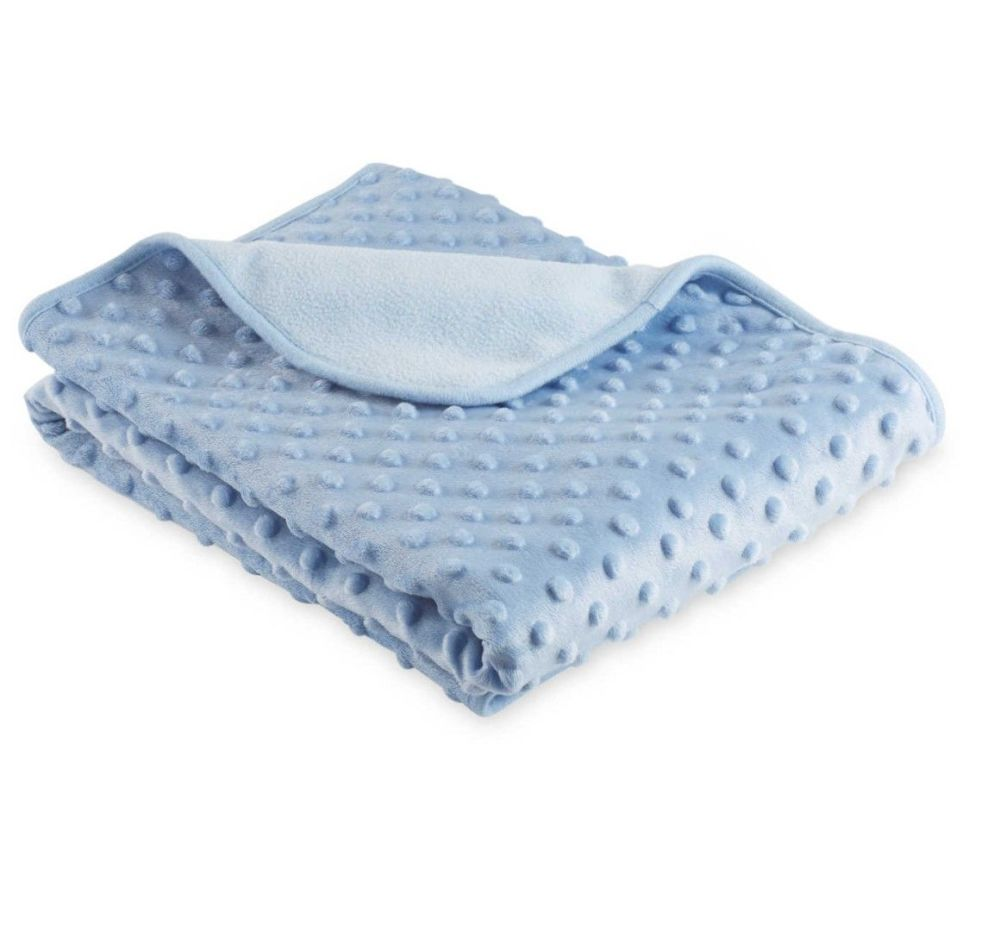 Personalised Embroidered Blue Spot Embossed Blanket