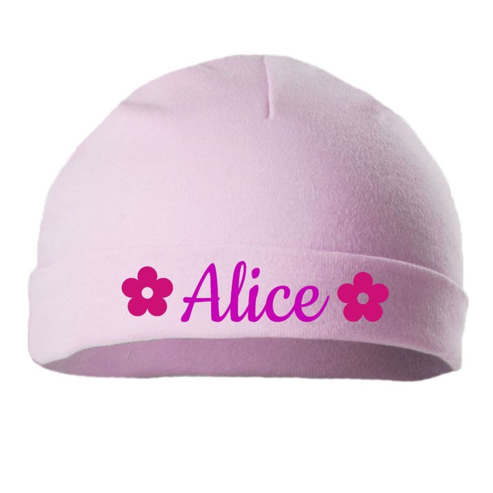 Personalised Embroidered Pink Cotton  Baby Hat