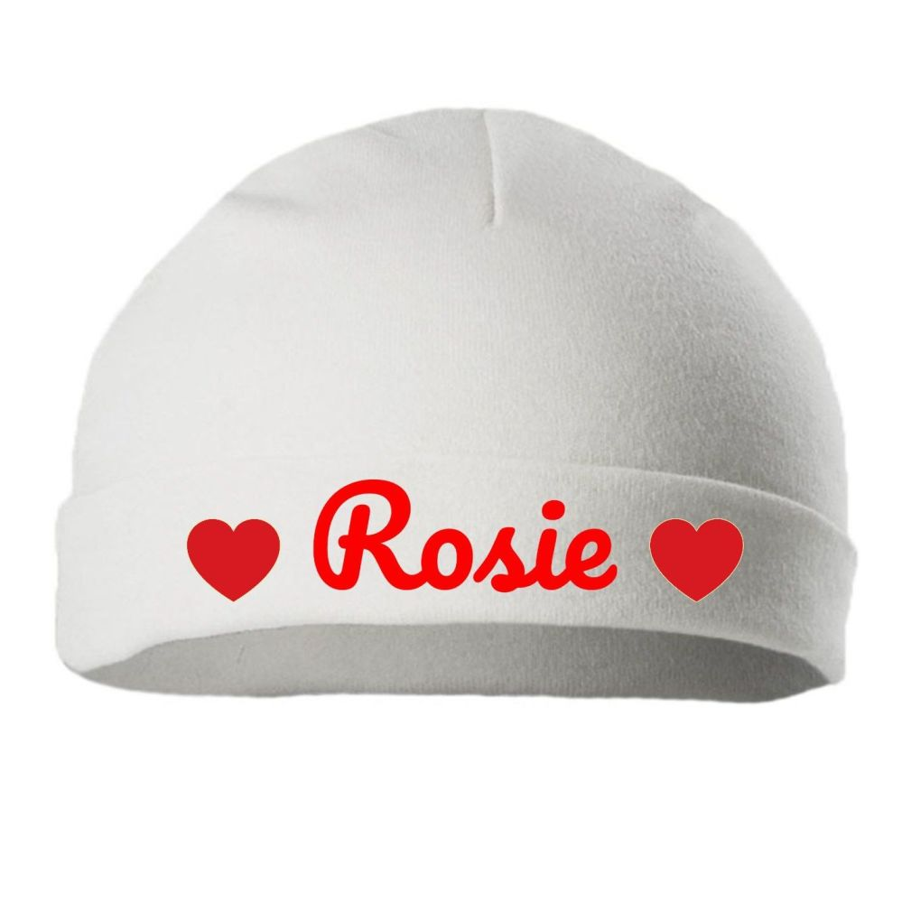 Personalised Embroidered White Cotton  Baby Hat