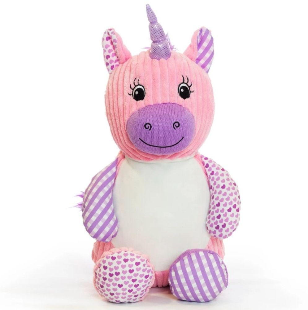 Personalised Embroidered Harlequin Pink Unicorn