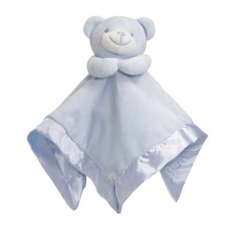 Personalised Blue Bear Bubble and Silky Baby Blankie