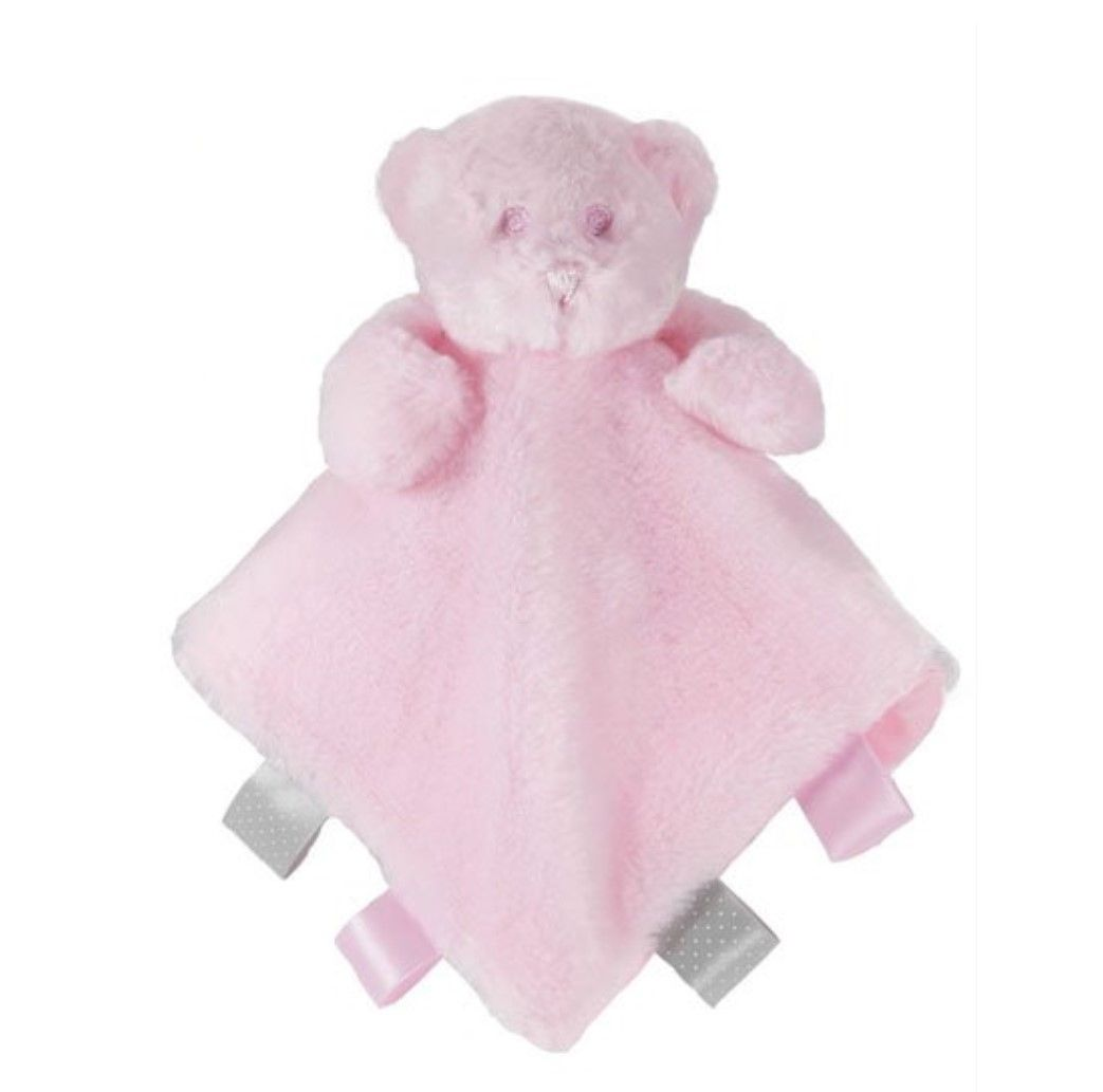 Personalised Pink Bear Comforter Blankie with ribbon tags