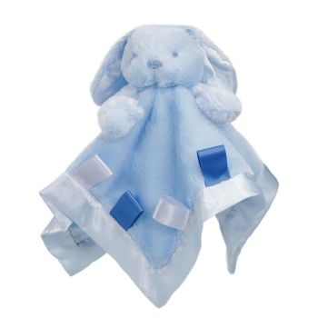Personalised Blue Bunny Rabbit  Baby Comforter Blankie with ribbon tags