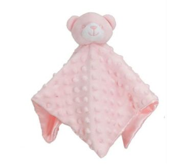 Personalised Pink Bear Bubble and Silky Baby Blankie
