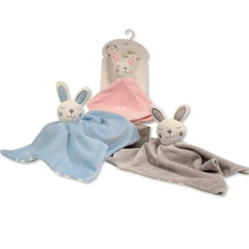 Personalised Blue Bunny Rabbit Baby Comforter Blankie