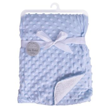 Personalised embroidered blue bubble embossed sherpa blanket