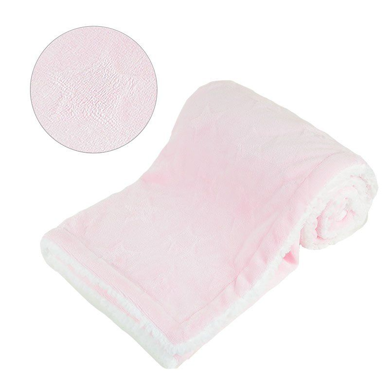 Personalised Embroidered Pink Star Embossed Sherpa Blanket