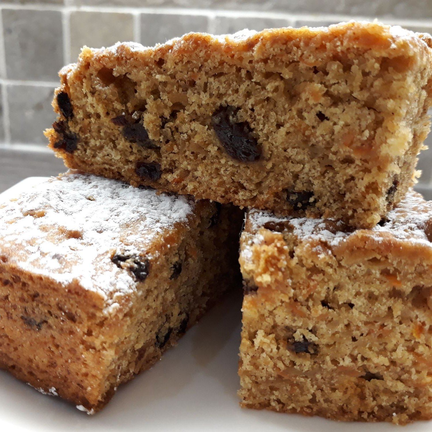 Carrot Apple and Raisin Cake suitable for vegsns