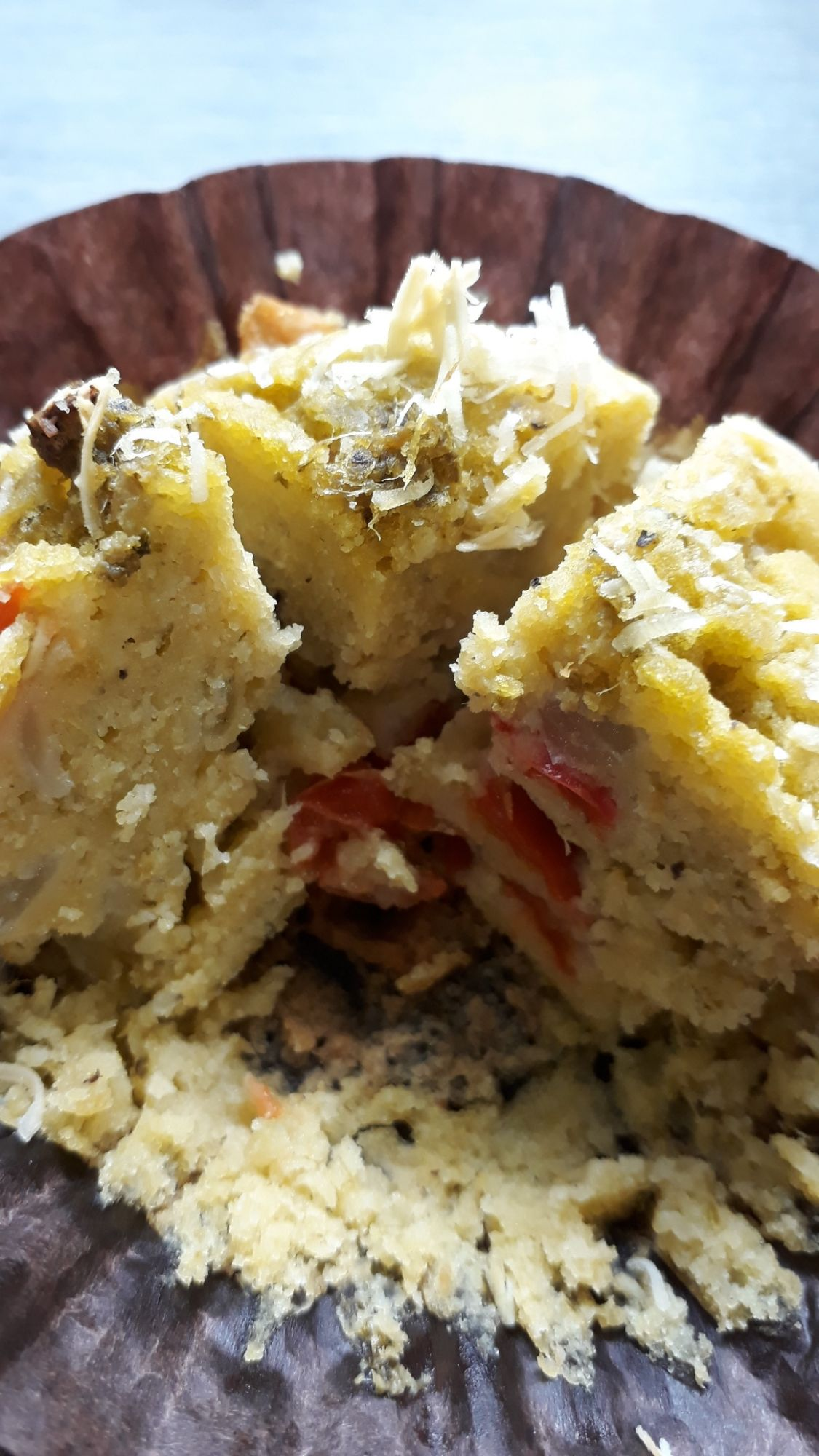 Pesto and Red Pepper Savoury Muffin made with gluten free flour and suitable for vegans