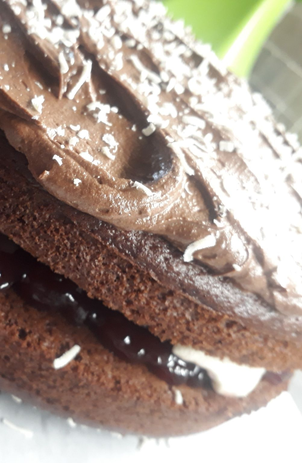 Eggless Chocolate Sponge filled with Jam and Fresh Cream
