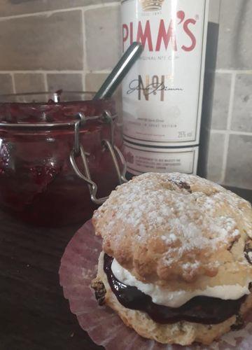 fresh cream scone homemade pimms jam