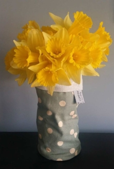 Fabric Vase Cover - Green Spots