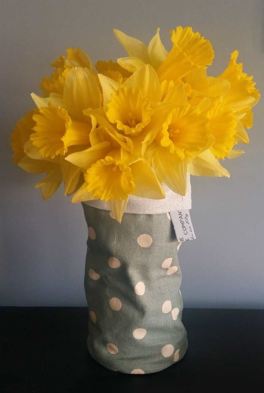Fabric Vase Cover (Green Spots)