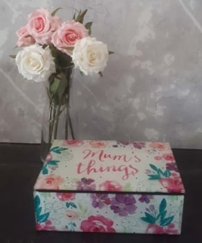 Floral Mum's Things Glass Trinket Box